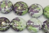 CRF17 15.5 inches 20mm flat round dyed rain flower stone beads