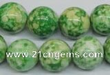CRF186 15.5 inches 16mm round dyed rain flower stone beads wholesale