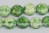 CRF198 15.5 inches 14mm flat round dyed rain flower stone beads