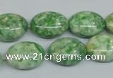CRF206 15.5 inches 13*18mm oval dyed rain flower stone beads