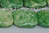 CRF225 15.5 inches 20*26mm rectangle dyed rain flower stone beads