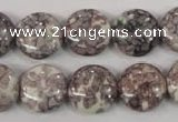 CRF238 15.5 inches 16mm flat round dyed rain flower stone beads
