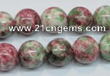 CRF26 15.5 inches 14mm round dyed rain flower stone beads wholesale