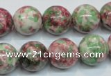 CRF27 15.5 inches 16mm round dyed rain flower stone beads wholesale
