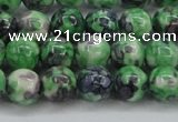CRF351 15.5 inches 8mm round dyed rain flower stone beads wholesale