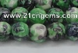 CRF353 15.5 inches 12mm round dyed rain flower stone beads wholesale