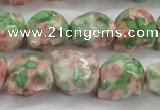 CRF363 15.5 inches 11*12mm skull dyed rain flower stone beads