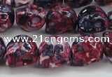 CRF364 15.5 inches 11*12mm skull dyed rain flower stone beads