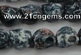 CRF366 15.5 inches 11*12mm skull dyed rain flower stone beads