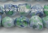 CRF368 15.5 inches 11*12mm skull dyed rain flower stone beads