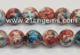 CRF37 15.5 inches 12mm round dyed rain flower stone beads wholesale
