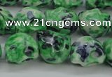 CRF372 15.5 inches 11*12mm skull dyed rain flower stone beads