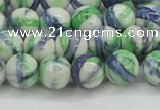 CRF389 15.5 inches 10mm round dyed rain flower stone beads wholesale