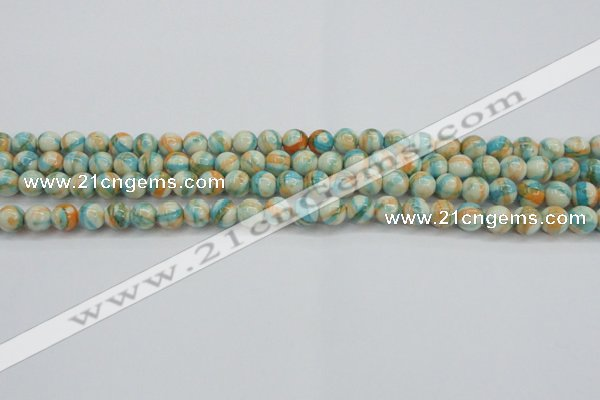 CRF392 15.5 inches 4mm round dyed rain flower stone beads wholesale