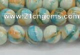 CRF395 15.5 inches 10mm round dyed rain flower stone beads wholesale