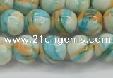 CRF396 15.5 inches 12mm round dyed rain flower stone beads wholesale