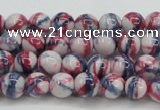 CRF404 15.5 inches 4mm round dyed rain flower stone beads wholesale
