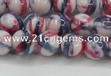 CRF408 15.5 inches 12mm round dyed rain flower stone beads wholesale