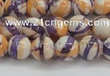 CRF413 15.5 inches 10mm round dyed rain flower stone beads wholesale