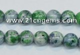 CRF45 15.5 inches 10mm round dyed rain flower stone beads wholesale