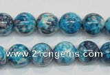 CRF59 15.5 inches 12mm round dyed rain flower stone beads wholesale