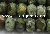 CRH124 15.5 inches 12*16mm faceted rondelle rhyolite gemstone beads