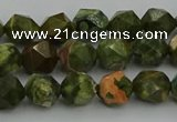 CRH161 15.5 inches 6mm faceted nuggets rhyolite gemstone beads
