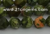 CRH163 15.5 inches 10mm faceted nuggets rhyolite gemstone beads