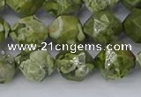 CRH537 15.5 inches 10mm faceted nuggets rhyolite gemstone beads