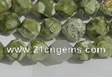 CRH554 15.5 inches 8mm faceted nuggets matte rhyolite gemstone beads