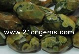 CRH69 15.5 inches 15*25mm faceted rice rhyolite beads wholesale