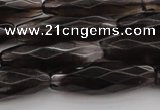 CRI06 15.5 inches 10*30mm faceted rice smoky quartz beads wholesale