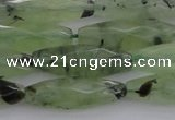 CRI07 15.5 inches 10*30mm faceted rice green rutilated quartz beads