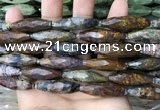 CRI130 15.5 inches 10*30mm faceted rice agate gemstone beads