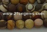 CRO1072 15.5 inches 8mm round matte brown zebra jasper beads