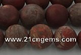CRO1104 15.5 inches 12mm round matte pomegranate jasper beads