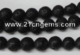 CRO118 15.5 inches 8mm round black lava beads wholesale