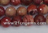 CRO1191 15.5 inches 10mm faceted round red porcelain beads