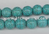 CRO365 15.5 inches 12mm round synthetic turquoise beads wholesale