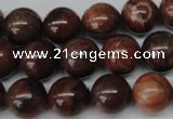 CRO382 15.5 inches 14mm round red picture jasper beads wholesale