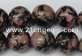 CRO452 15.5 inches 16mm round rhodonite gemstone beads wholesale