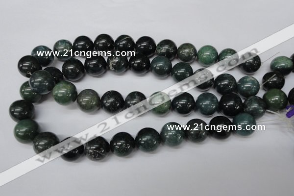 CRO480 15.5 inches 18mm round moss agate beads wholesale