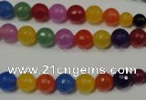 CRO713 15.5 inches 6mm – 14mm faceted round mixed candy jade beads