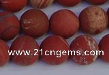 CRO934 15.5 inches 12mm round matte red jasper beads wholesale