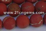 CRO935 15.5 inches 14mm round matte red jasper beads wholesale