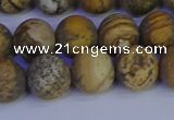 CRO973 15.5 inches 10mm round matte picture jasper beads wholesale