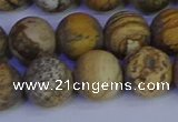 CRO974 15.5 inches 12mm round matte picture jasper beads wholesale