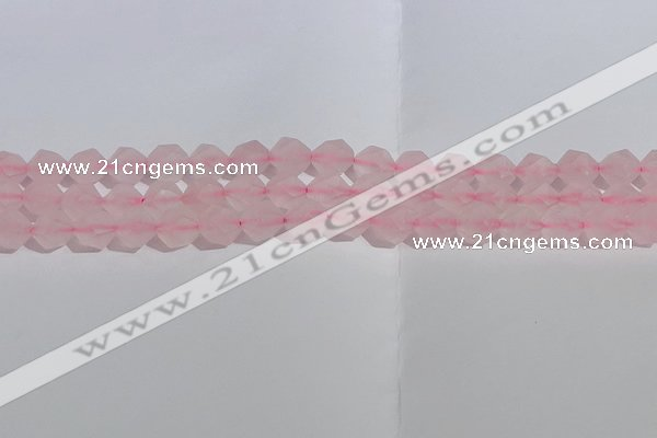 CRQ407 15.5 inches 8mm faceted nuggets matte rose quartz beads