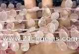 CRQ561 Top drilled 10*14mm faceted briolette rose quartz beads