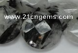 CRU06 15.5 inches 30mm faceted flat round black rutilated quartz beads
